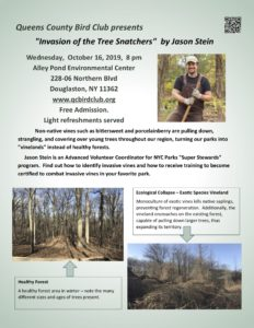 """The Invasion of the Tree Snatchers"" - Queens County Bird Club presentation @ Alley Pond Environmental Center 