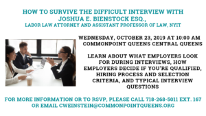How to Survive the Difficult Interview @ Commonpoint Queens Central queens