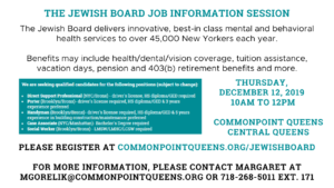 The Jewish Board Job Information Session @ Commonpoint Queens Central Queens | New York | United States