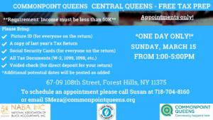 Free Tax Prep @ Commonpoint Queens Central Queens | New York | United States