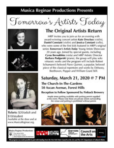 MRP Presents Tomorrow's Artists Today @ The Church-in-the-Gardens | New York | United States