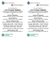 Older Adults Life Planning Seminar @ Commonpoint Queens Sam Field Center | New York | United States
