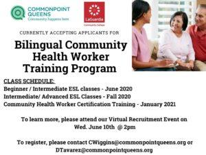 Bilingual Community Health Worker Training Recruitment @ Virtual