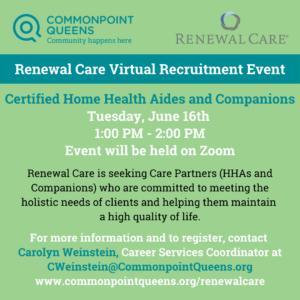 Renewal Care Virtual Recruitment Event @ Online