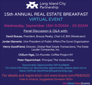 LIC Real Estate Breakfast (virtual event) @ Online event- free to attend with optional donation