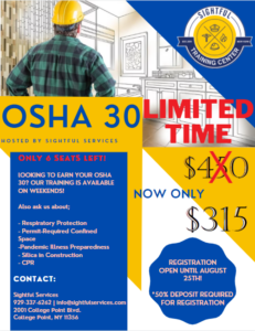 OSHA 30 TRAINING DISCOUNTED @ Sightful Services Training Center | New York | United States