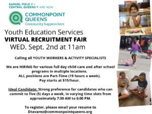 Commonpoint Queens Youth Education Services Virtual Recruitment Fair @ virtual