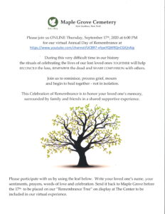 Virtual Day of Remembrance at Maple Grove Cemetery @ Friends of Maple Grove - Online Presentation