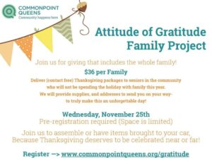 Thanksgiving Attitude of Gratitude Family Project @ Commonpoint Queens Sam Field Center | New York | United States