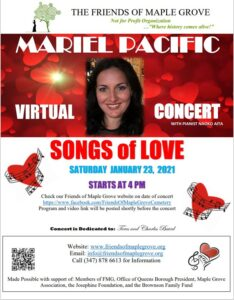 Friends of Maple Grove - Songs of Love with Mariel Pacific @ Friends of Maple Grove Virtual Event | New York | United States