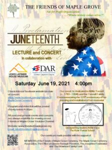 Juneteenth Virtual Concert & Lecture by Friends of Maple Grove @ Friends of Maple Grove - Online Presentation | New York | United States