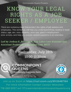 Know Your Legal Rights as a Job Seeker/Employee Workshop @ virtual