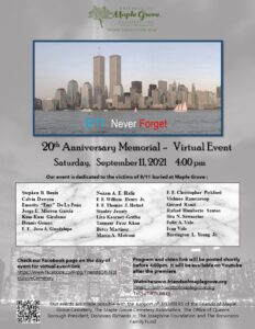 Friends of Maple Grove - Virtual 9/11 Memorial Sat. 9/11 at 4 PM @ Friends of Maple Grove - Online Presentation | New York | United States