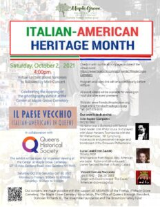Italian American Heritage Month Virtual Mini-Concert and Live Photography Exhibit @ Friends of Maple Grove | New York | United States