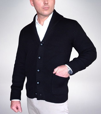 Quantum of Solace Black Shawl Collar Cardigan alternative