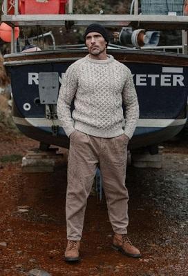 cool men's look Aran knit sweater
