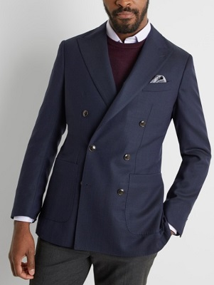 budget double breasted James Bond navy blazer