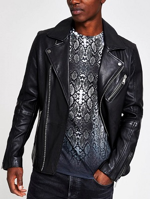 River Island Black Leather Double Rider Jacket