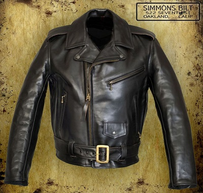 Black Leather Double Rider Jacket Simmons Bilt