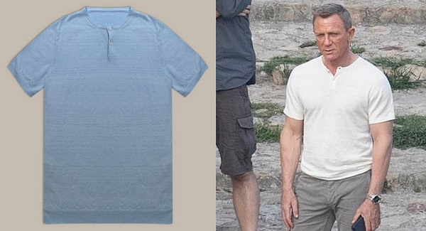 James Bond No Time To Die Anderson and Sheppard Knit Linen Henley