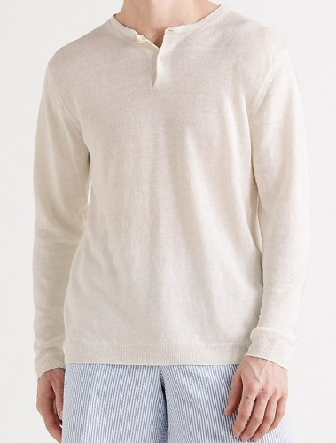 Anderson and Sheppard Knit Linen Henley
