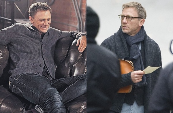 Daniel Craig grey shawl collar cardigan