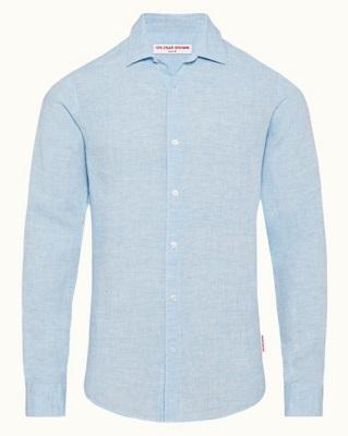 Daniel Craig James Bond SPECTRE Blue Linen Shirt budget alternative