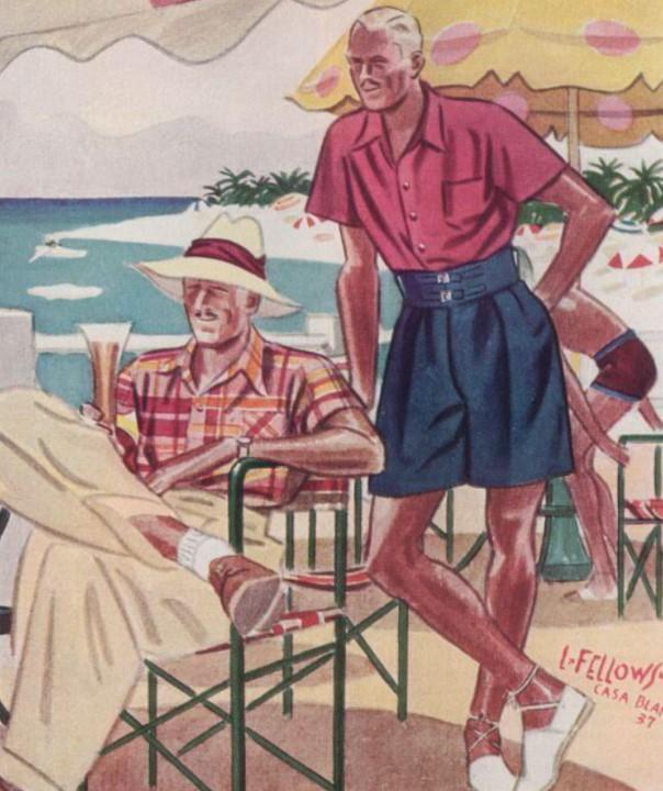 Laurence Fellows illustration 1930s men's shirt styles