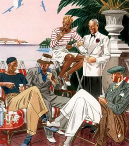 An illustration of menswear from the 1930s by Laurence Fellows