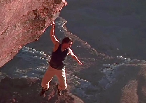 Tom Cruise Mission Impossible II Climbing