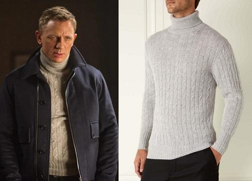 Daniel Craig James Bond SPECTRE Roll Neck Sweater N.Peal