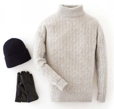 N.Peal 007 Cable Roll Neck Sweater in Fumo Grey