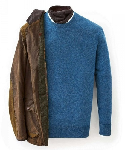 N.Peal 007 Crew Neck Sweater in Blue Wave