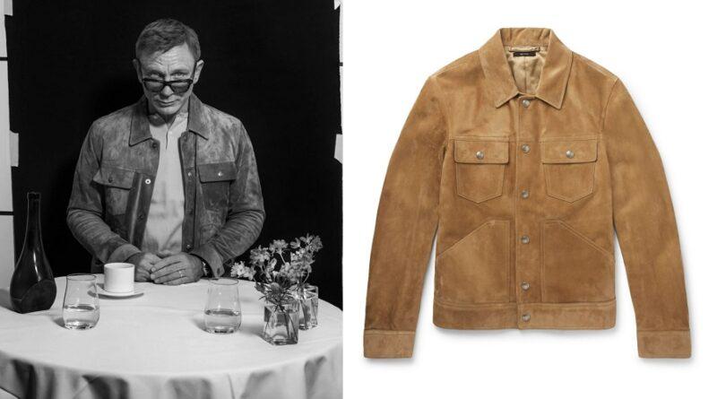 Daniel Craig suede trucker jacket
