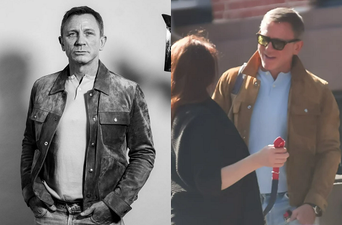 Daniel Craig Tom Ford Suede Trucker Jacket Anderson and Sheppard Henley