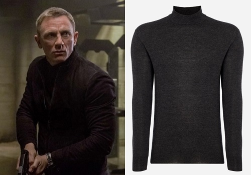 Daniel Craig James Bond SPECTRE mock neck sweater charcoal grey