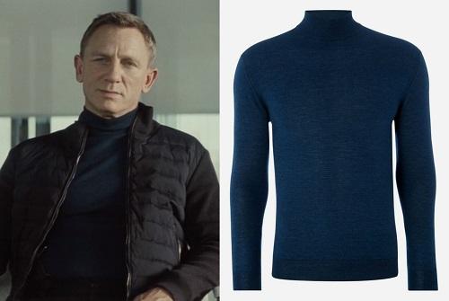 Daniel Craig James Bond SPECTRE mock neck sweater Lapis Blue