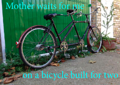 Mother waits for me on a bicycle built for two