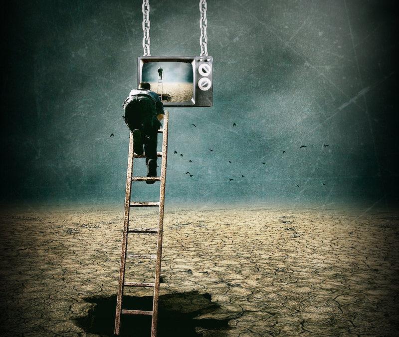 """man in dream on a dream ladder"""