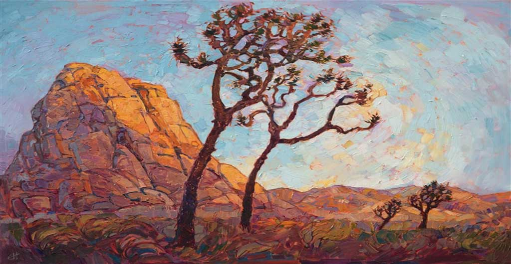 ART TODAY 030518 A pair of Joshuas dancing against a California desert landscape by Erin Hanson
