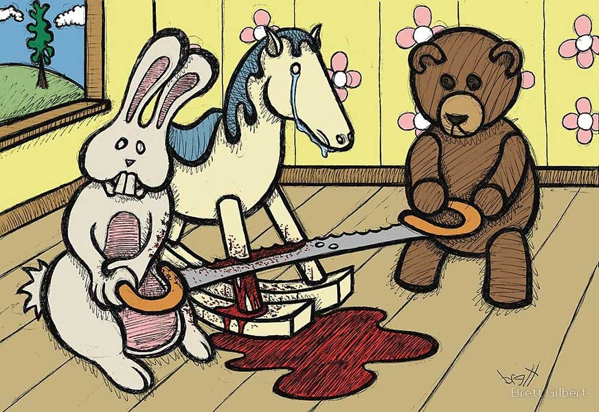 """ART TODAY 040618 """"The Price of Freedom"""" by Brett Gilbert – examples of his dark sense of humor in the """"Teddy Bear and Bunny"""" Series"""