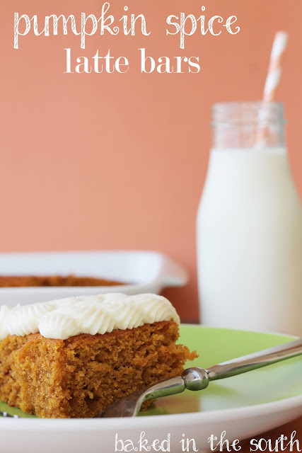 Pumpkin Spice Latte Bars with Cream Cheese Frosting