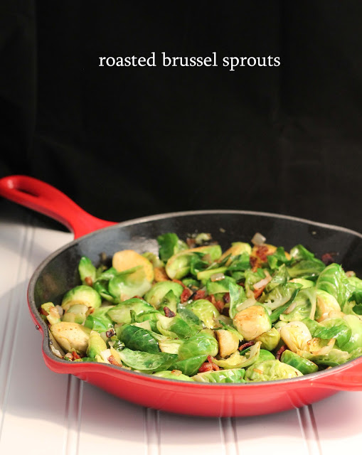 Roasted Brussel Sprouts with Bacon & Shallots
