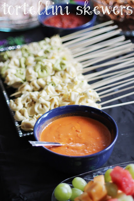 Three Cheese Tortellini Skewers with Vodka Dipping Sauce