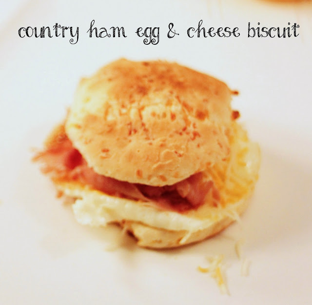 Country Ham, Egg & Cheddar Biscuits