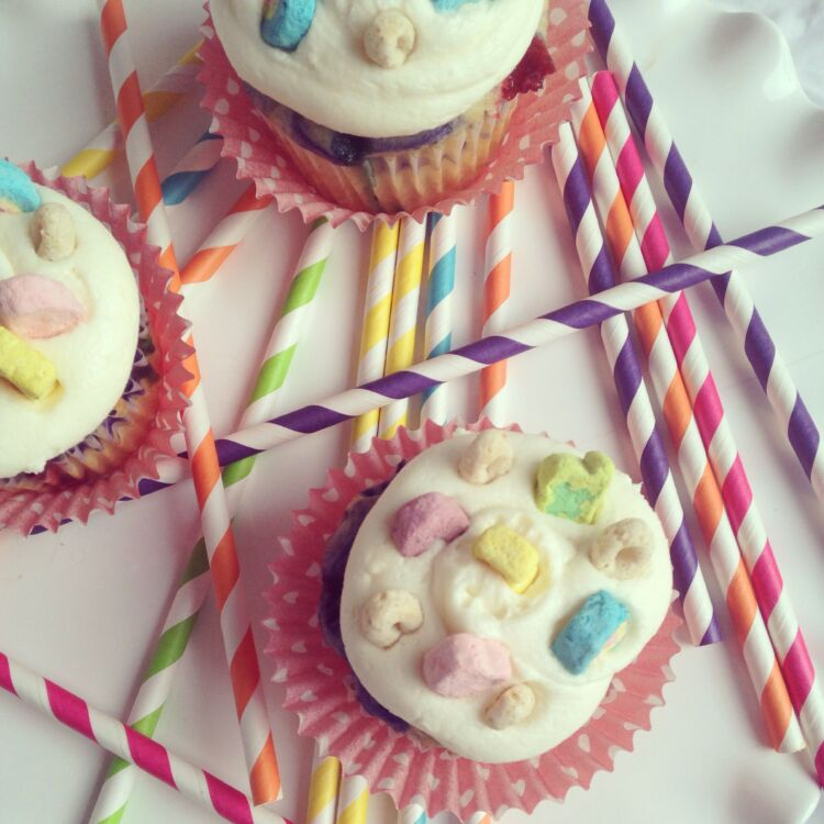 Lucky Charm Cupcakes with a Bourbon Vanilla Cream Cheese Frosting