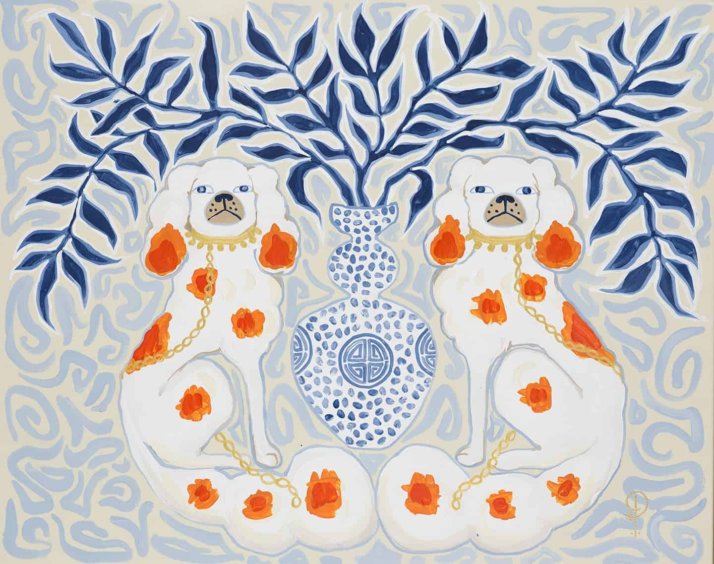 ART PRINT Staffordshire Dogs Chinoiserie by Paige Gemmel