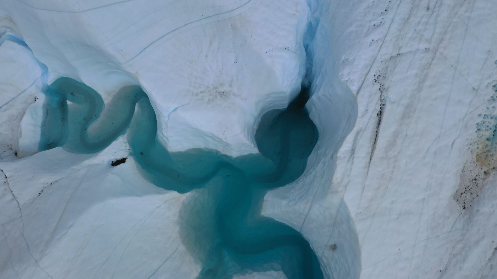 Blue Glacier Pool by Helicopter