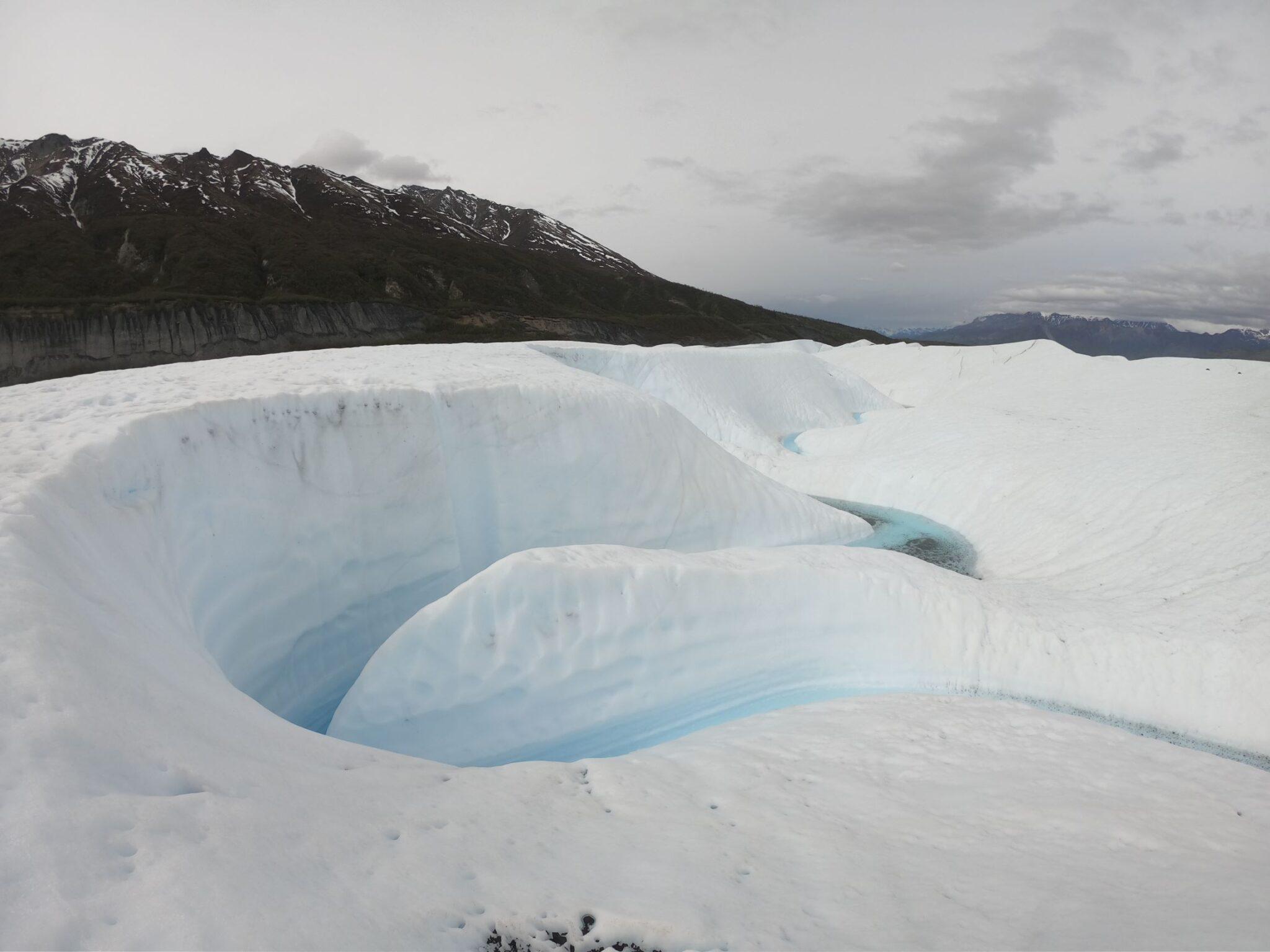 glacier river and white ice