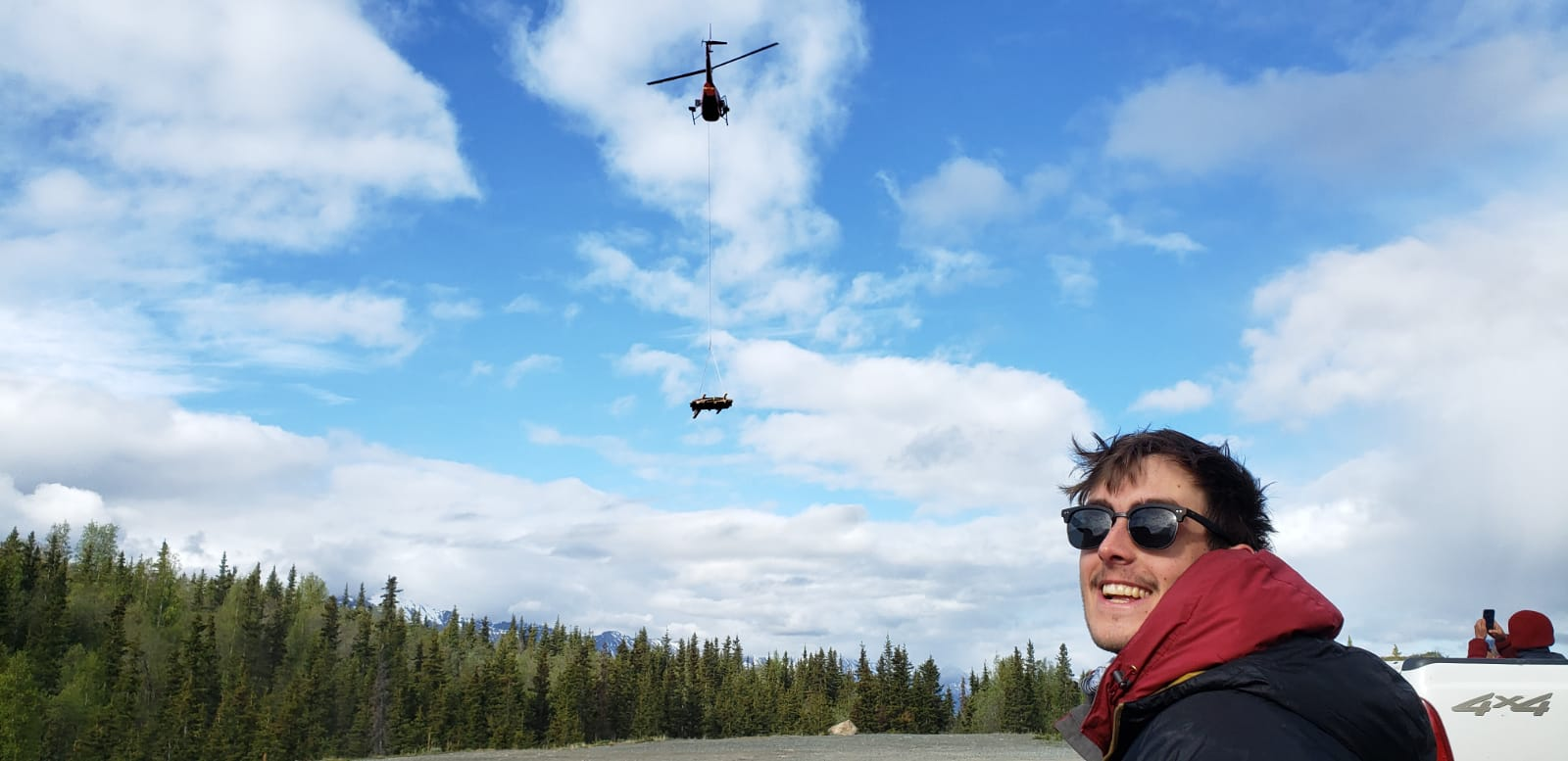 helicopter flying with bundle